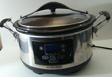 Hamilton Beach 6 Qt Programmable Slow Cooker Set Forget Stay Metallic 33967