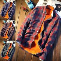 Shirt Men Plaid Flannel Shirt Casual Autumn Winter Spring Thick Warm Polyester