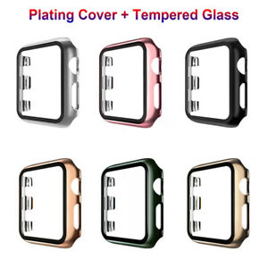 Plating Case+Tempered Glass For Apple Watch SE Series 6 5 4 3 2 Screen Protector