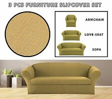 J GOLD STRETCH-FIT 3 PC JERSEY STRIPES FURNITURE SLIPCOVER SOFA+LOVESEAT+CHAIR
