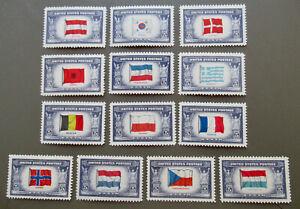 US  1943 Overrun Countries Set #909-921 with Yugoslavia Error MH
