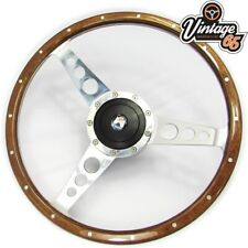 "Vw Transporter T3 T25 Camper 14"" Polished Wood Rim Steering Wheel & Boss Upgrade"