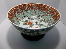 Vintage Chinese Porcelain Famille PUNCH Bowl Flower PHOENIX Butterfly WOOD STAND