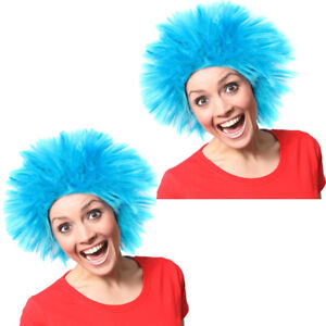 2 X BLUE SPIKE WIG FANCY DRESS COSTUME ACCESSORY WORLD BOOK DAY THING OUTFIT