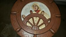 Large Ceramic Plaque Art Sailor Controlling Ships Wheel 1972 Look! Nautical
