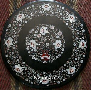 """24"""" Round Marble Coffee Table Top Marquetry Art Patio Table for Living Room Area"""