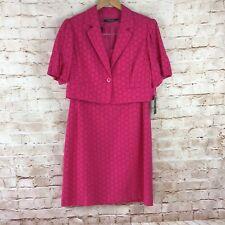 Nine West Suit Pink Eyelet Dress Suit w/ Jacket Size 14 Petite