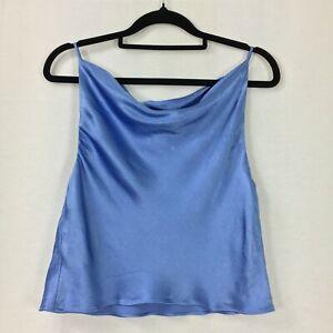 Bec & Bridge Blue Satin Draped Neckline Cropped Top Size 10