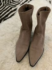 Zara Suede Cowboy Boots Western 70s Vintage Style 4 37 Ankle Boots