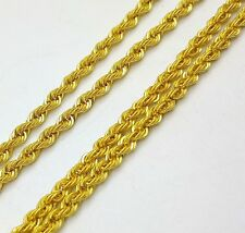 22K YELLOW GOLD ROPE CHAIN DESIGN MODERN NECKLACE 2.5 MM TWISTED CHAIN JEWELRY