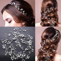 Women Lady Girls Wedding Bride Pearl Gold Silver Hair Headband Hoop tiara Prop