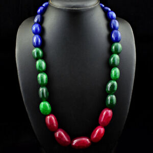 828.00 Cts Earth Mined Ruby, Sapphire & Emerald Oval Beads Necklace JK 36E243