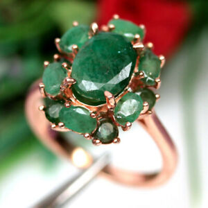 NATURAL 7 X 10 mm. GREEN EMERALD RING 925 SILVER STERLING SZ 8.25