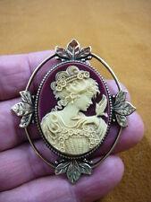 (cm26-28) FEMININE LADY + bird Resin burgundy CAMEO jewelry Pin Pendant POPULAR
