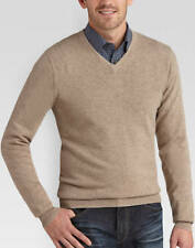 Joseph Abboud 100% Cashmere V Neck Sweater XL NEW With Tags Tan