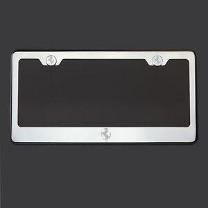 Mirror Chrome Ferrari Logo Laser Etched T304 Stainless Steel License Plate Frame