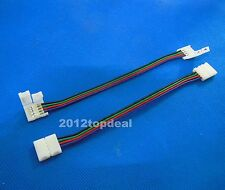10 PCS 15mm 4 Pin two Connector with Cable For SMD LED 5050 RGB Strip Light