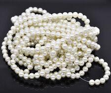 100 X cristal de perla redonda con cuentas de imitación de marfil 8mm-L13676