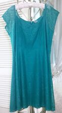 NEW ~ Plus Size 4X 3X 2X 1X Teal Blue Green Turquoise Lace A-Line Dress