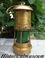 "Vintage Style Nautical Antique Minor Ship Lantern Oil Lamp 10"" Green Glass Yhu78"