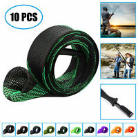 10PCS Rod Sock Fishing Rod Sleeve Tubes Cover Braided Mesh Rod Protector Pole US