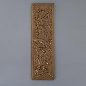 ANTIQUE BRASS FINISH DOOR PUSH PLATES ARTS & CRAFTS PARROT FINGER HANDLES