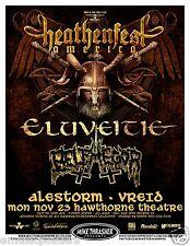 """ELUVEITIE / ALESTORM """"HEATHENFEST TOUR 2009"""" PORTLAND CONCERT TOUR POSTER"""