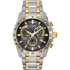 Citizen Mens Dial Two-Tone Eco-Drive Perpetual Chronograph Stainless Steel Watch