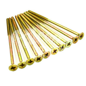 50, 6.0 x 150mm PROFESSIONAL WOOD SCREW ZINC YELLOW, POZI SCREWS *