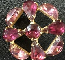 Round Light & Dark Pink Rhinestone Brooch featuring a Cross design , Vintage