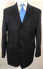 CALVIN KLEIN Blazer Men's 42L Black Gray Striped 100% Lambs Wool 3 Button