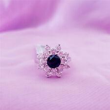 Genuine 100% Real Sterling Silver Rings (Black Sapphire)925 Sterling silver R40