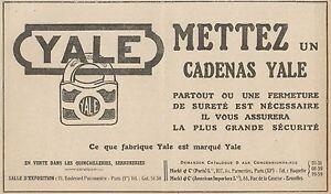 Y7244 Cadenas Yale - Publicidad Antigua - 1923 Antiguo Advertising