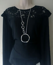 """Beautiful 32"""" long SILVER tone linked  layered hoop pendant & chain necklace"""