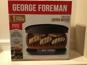 #1 GEORGE FOREMAN  5-SERVING CLASSIC ELECTRIC INDOOR GRILL and PANINI Press  🏆