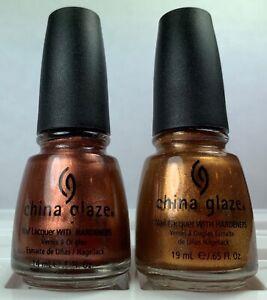 China Glaze Nail Polish Soft Sienna Silks 590 + In Awe of Amber 589