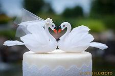 White Swan Wedding Cake Topper: Bride & Groom Love Bird Cake Topper