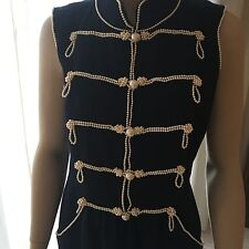Chanel vintage style militaire Perle Brodé Robe FR 42 UK 14