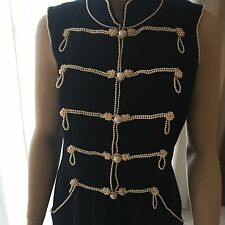 Chanel Vintage Military Style Pearl Embroidered Dress   FR 42 UK 14