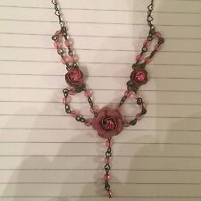 Vintage Betsey Johnson Pink Flower Crystal Tiered Necklace