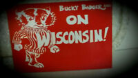 """Vintage NOS Bucky Badger Post Card. Mint, Unused. Bucky Says: """"On Wisconsin!"""""""