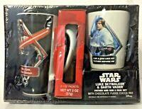NEW Star Wars Luke Skywalker & Darth Vader Father & Son Mug Set w/Cocoa Mix