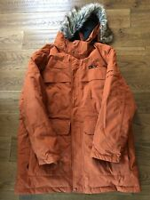 DLX Highland Mens Down Jacket Waterproof Long Parka with Hood Burnt Orange XXL