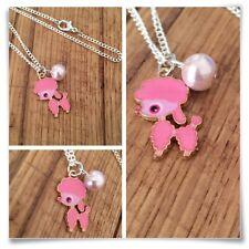 Poodle Dog Pink pearl Miniature Charm pendant necklace