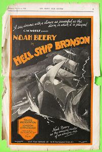 HELL SHIP BRONSON! '28 RARE NOAH BEERY SILENT SINGLE SHEET FILM PRESSKIT!