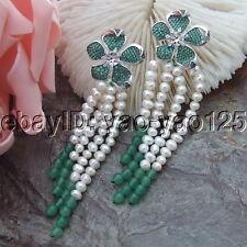 H072012  White Pearl  Green Jade Earrings Cz Pave Flower Stud