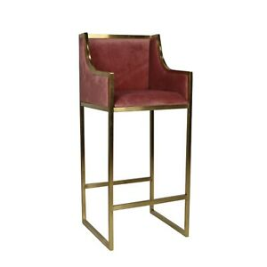Red Blush Velvet Bar Stools Sold in Pairs Cushions With Gold Metal Legs