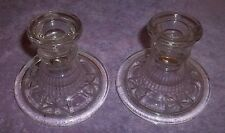 """SET OF 2 CLEAR GLASS STAR PATTERN CANDLE HOLDERS 4"""" WIDE x 3 1/2"""" TALL R"""