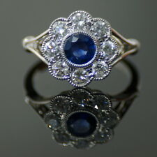 18ct White Gold Sapphire and Diamond Cluster Ring. Gold Weight 4.0 grams, Sap...