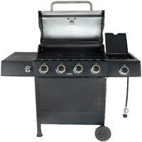 Gas Propane Grill Side Burner Stainless Steel Outdoor Patio Barbecue Black NEW
